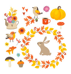 set cute hand-drawn autumn elements birds and vector image