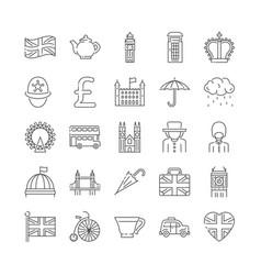 set london england and uk icons thin line vector image