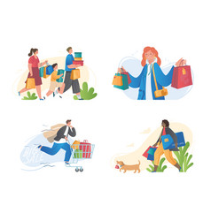 set male and female characters shopping vector image