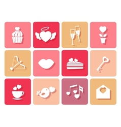 Set wedding and valentines icons for cards vector