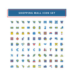 shopping and mall icon set with filled outline vector image