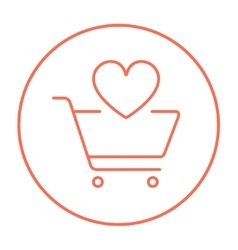 Shopping cart with heart line icon vector