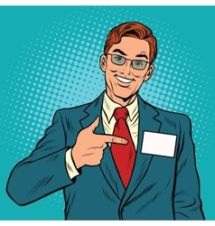 Smiling Manager with a name badge vector