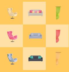 soft furniture and decorative elegant curtains vector image