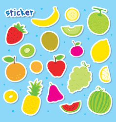 Sticker fruit cute cartoon vector