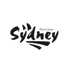 sydney city name original design black ink hand vector image