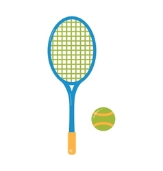 Tennis ball and racket flat vector image