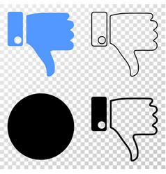 thumb down eps icon with contour version vector image
