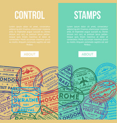 Travel agency flyers with visa rubber stamps vector