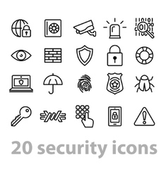 Twenty security icons collection vector