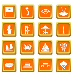 Vietnam travel icons set orange vector