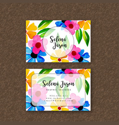 Watercolor floral visiting card template vector