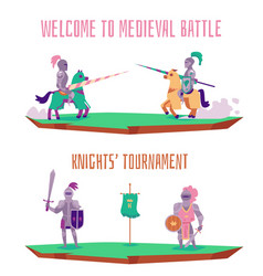 Welcome to medieval battle - cartoon knight vector