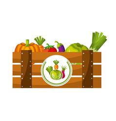 wooden basket filled fresh vegetables vector image