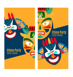 yellow ethno party flyers with masks vector image