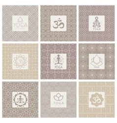 Yoga Icons on Ornament Background vector