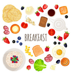 breakfast food and drink collection isolated vector image