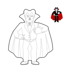 Dracula coloring book Vampire Count in linear vector image vector image