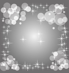 Grayscale background with bokeh and stars vector