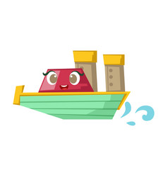 Green and red cruise liner boat cute girly toy vector