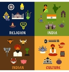 Indian culture religion and national icons vector image