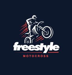 motorcycle logo motocross freestyle vector image
