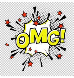 omg comic sound comic speech bubble halftone vector image vector image