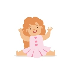 Redhead girl sitting in pink dress adorable vector