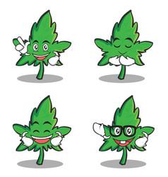 set of marijuana character cartoon vector image vector image