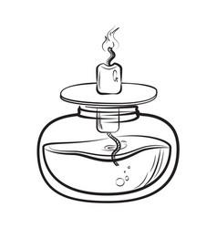 sketch of spirit lamp chemical burner vector image vector image