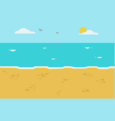 beautiful beach with wave and sky background vector image