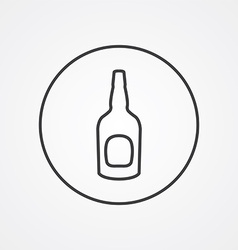 beer bottle outline symbol dark on white vector image vector image