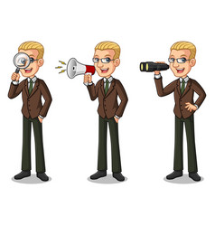 blonde businessman looking for poses vector image