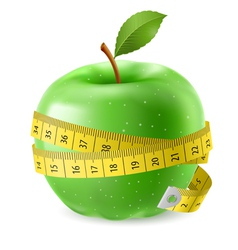 Green apple and measure tape vector image vector image