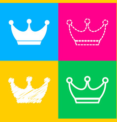king crown sign four styles of icon on four color vector image