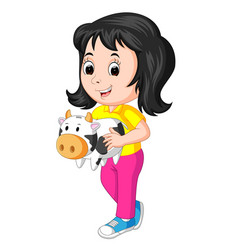 little girl holding cow bank vector image vector image