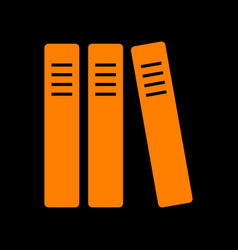 row of binders office folders icon orange icon vector image