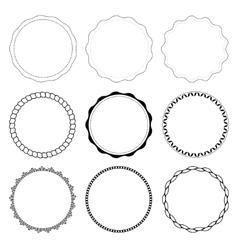 Set of 9 circle design frames vector