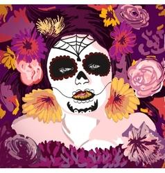 Young pretty Mexican Sugar Skull girl y with vector image