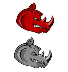 Aggressive cartoon rhino with bared teeth vector image vector image
