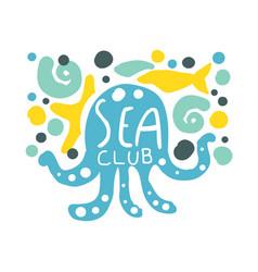 sea club logo summer travel and sport hand drawn vector image vector image