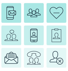set of 9 social icons includes phone messaging vector image vector image
