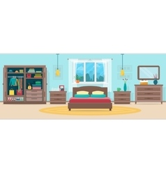 Bedroom with furniture and window vector image vector image