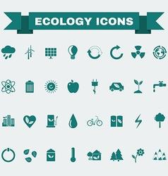Ecology Big Icons Set vector image