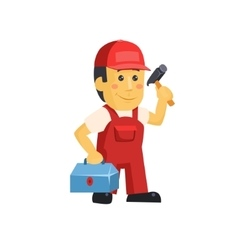 Friendly construction worker man with tools vector image vector image
