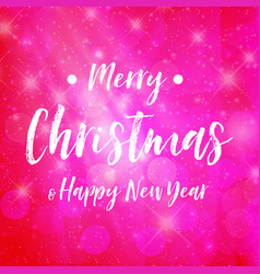 merry christmas - pink background sparkle vector image
