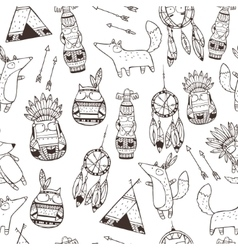 pattern with indian elements vector image vector image