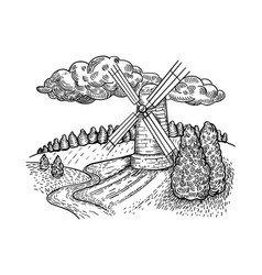 windmill country landscape engraving style vector image vector image