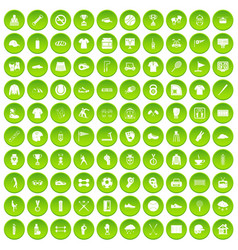 100 sport club icons set green circle vector