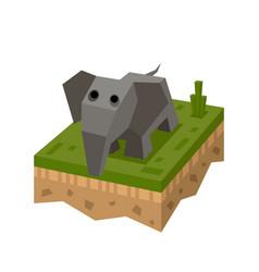 3d isometric elephant vector image